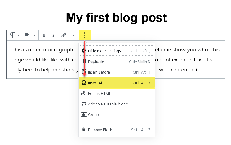 Adding a new block as you write and publish a WordPress post.
