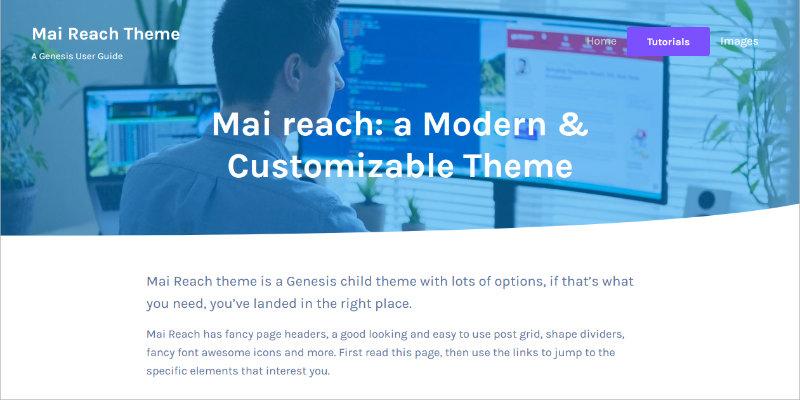 Mai Reach Theme header screenshot.