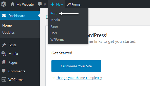 New post option in the WordPress admin bar.