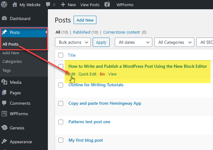 How to find, view and edit when you write and publish a WordPress post.