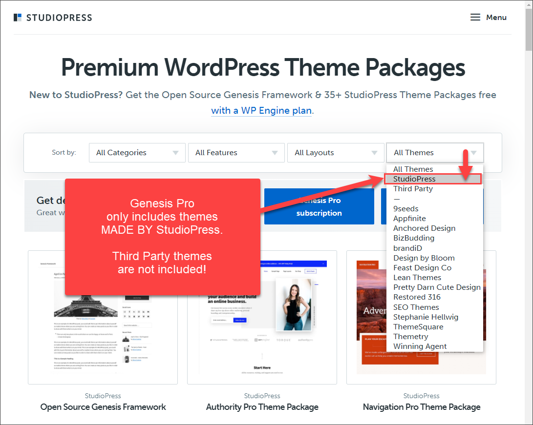 Genesis Pro only includes themes MADE BY StudioPress. Third party themes are NOT included.